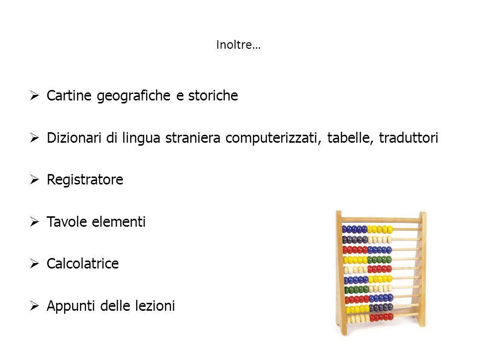 Inoltre… Cartine geografiche e storiche Dizionari di lingua straniera computerizzati, tabelle, traduttori Registratore Tavole elementi Calcolatrice Ap