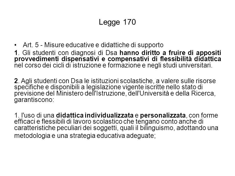 Legge 170 Art. 5 - Misure educative e didattiche di supporto 1. Gli studenti con diagnosi di Dsa hanno diritto a fruire di appositi provvedimenti disp