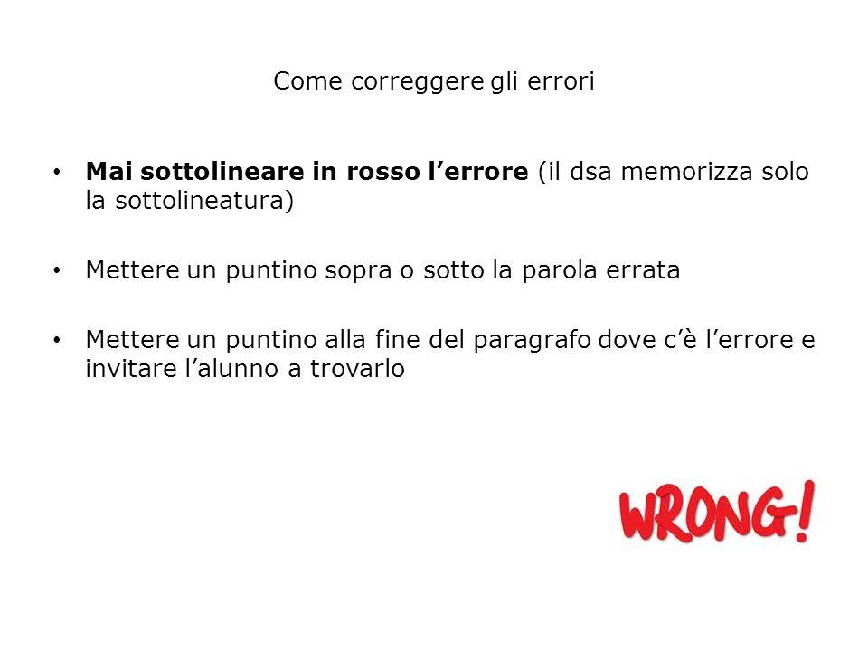 Come correggere gli errori Mai sottolineare in rosso lerrore (il dsa memorizza solo la sottolineatura) Mettere un puntino sopra o sotto la parola erra