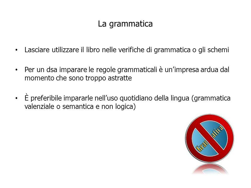 La grammatica Lasciare utilizzare il libro nelle verifiche di grammatica o gli schemi Per un dsa imparare le regole grammaticali è unimpresa ardua dal