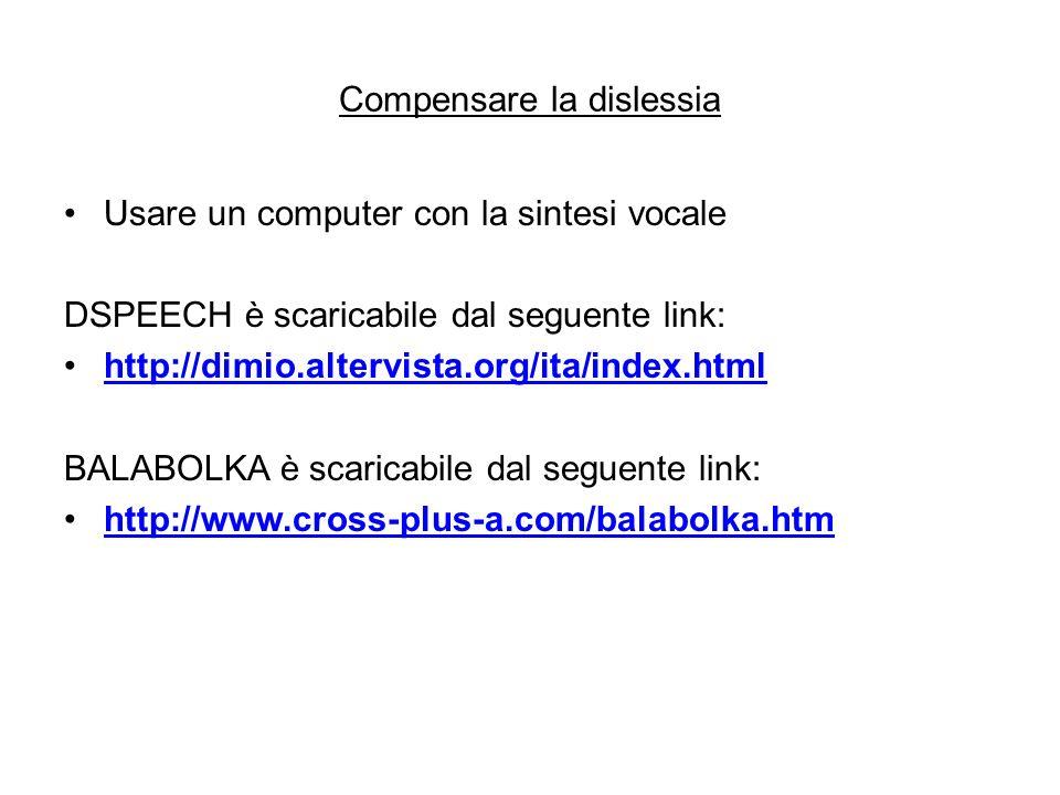 Compensare la dislessia Usare un computer con la sintesi vocale DSPEECH è scaricabile dal seguente link: http://dimio.altervista.org/ita/index.html BA