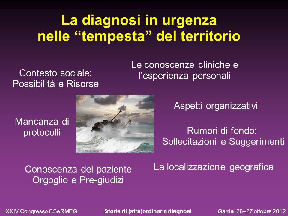 Contesto sociale: Possibilità e Risorse La diagnosi in urgenza nelle tempesta del territorio XXIV Congresso CSeRMEG Storie di (stra)ordinaria diagnosi