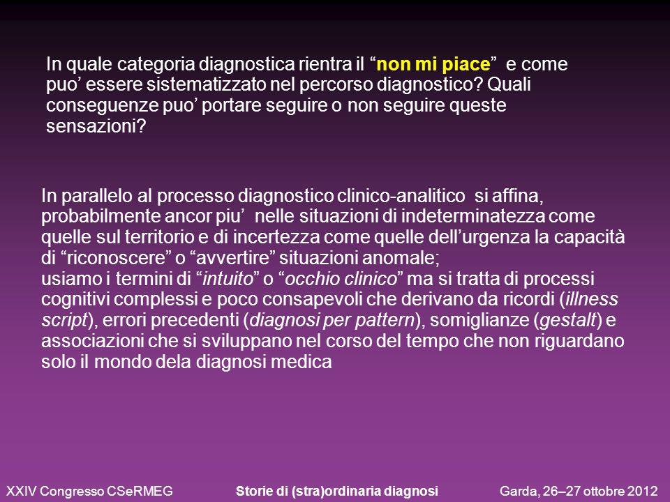 XXIV Congresso CSeRMEG Storie di (stra)ordinaria diagnosi Garda, 26–27 ottobre 2012 In quale categoria diagnostica rientra il non mi piace e come puo