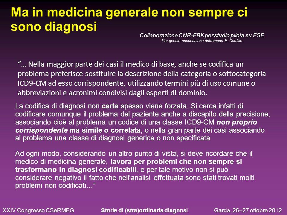 … Nella maggior parte dei casi il medico di base, anche se codifica un problema preferisce sostituire la descrizione della categoria o sottocategoria