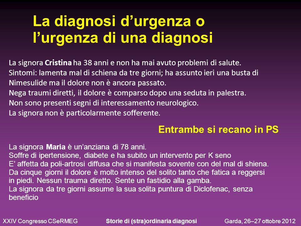 Lombosciatalgia: 18 Lombalgia: 6 lombalgia post-traumatica: 6 lombosciatalgia in ernia: 3 frattura somatica L1: 3 frattura somatica D12: 2 lombalgia di ndd: 2 rachialgia: 2 lombalgia cronica: 2 radicolopatia subacuta L5: 1 lombalgia in gravidanza: 1 1R - 2G- 18V - 25B La diagnosi in Pronto soccorso …non si trattava di una opinione, ma di una diagnosi.