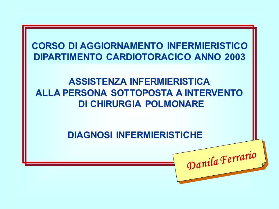CORSO DI AGGIORNAMENTO INFERMIERISTICO DIPARTIMENTO CARDIOTORACICO ANNO 2003 ASSISTENZA INFERMIERISTICA ALLA PERSONA SOTTOPOSTA A INTERVENTO DI CHIRUR