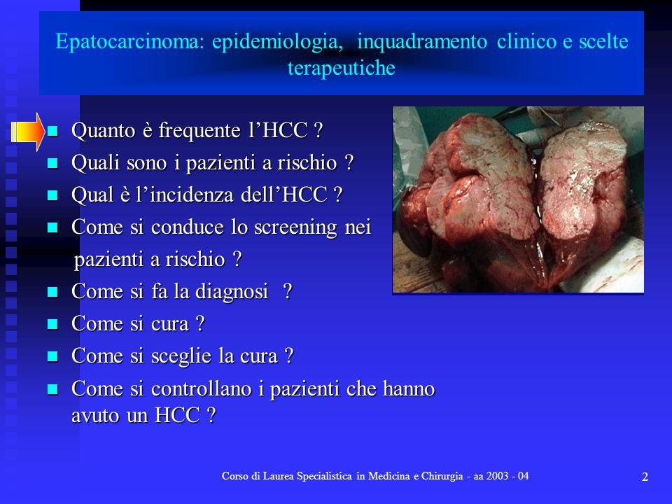 Corso di Laurea Specialistica in Medicina e Chirurgia - aa 2003 - 04 2 Epatocarcinoma: epidemiologia, inquadramento clinico e scelte terapeutiche Quan