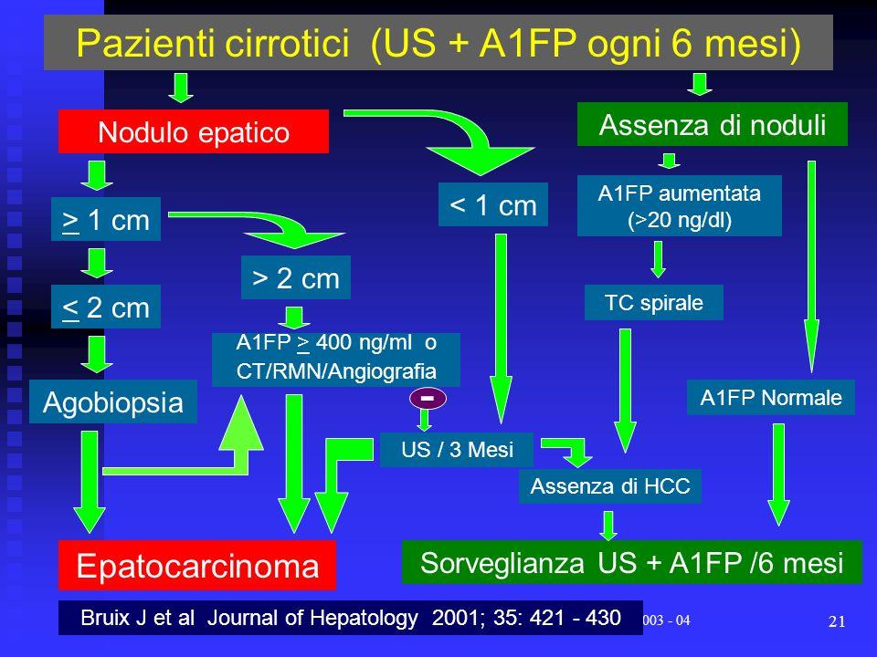 Corso di Laurea Specialistica in Medicina e Chirurgia - aa 2003 - 04 21 Pazienti cirrotici (US + A1FP ogni 6 mesi) Nodulo epatico > 1 cm < 1 cm < 2 cm