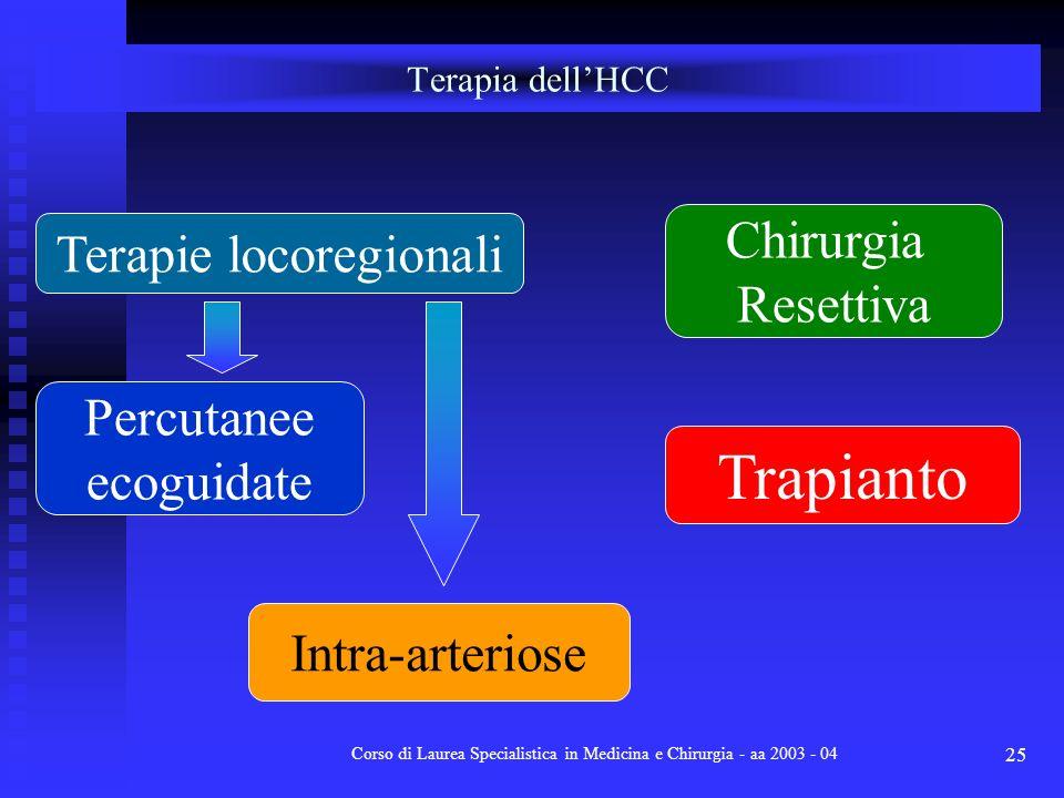 Corso di Laurea Specialistica in Medicina e Chirurgia - aa 2003 - 04 25 Terapia dellHCC Terapie locoregionali Percutanee ecoguidate Intra-arteriose Ch