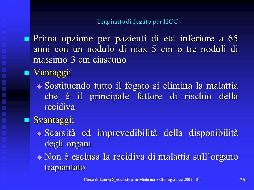 Corso di Laurea Specialistica in Medicina e Chirurgia - aa 2003 - 04 26 Prima opzione per pazienti di età inferiore a 65 anni con un nodulo di max 5 c
