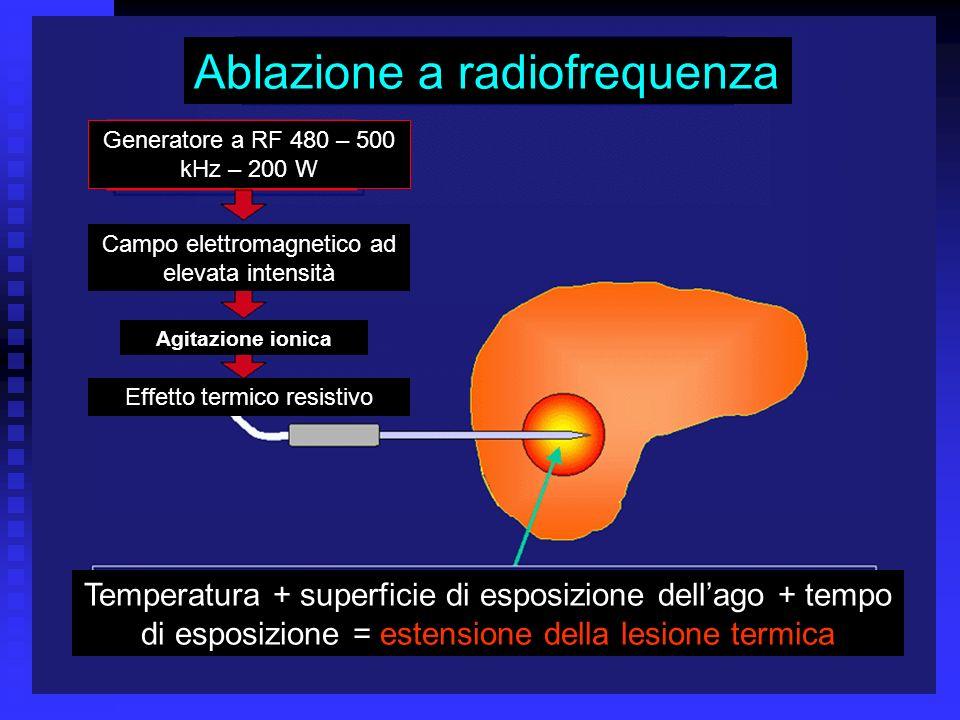 Corso di Laurea Specialistica in Medicina e Chirurgia - aa 2003 - 04 29 Ablazione a radiofrequenza Temperatura + superficie di esposizione dellago + t
