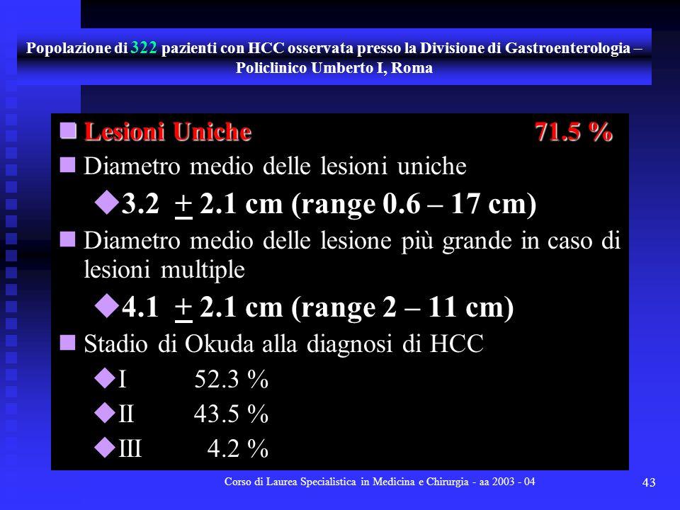 Corso di Laurea Specialistica in Medicina e Chirurgia - aa 2003 - 04 43 Lesioni Uniche71.5 % Lesioni Uniche71.5 % Diametro medio delle lesioni uniche