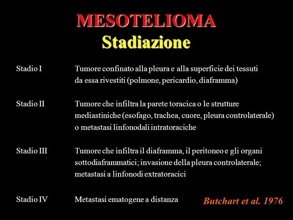 MESOTELIOMAStadiazione Stadio ITumore confinato alla pleura e alla superficie dei tessuti da essa rivestiti (polmone, pericardio, diaframma) Stadio II