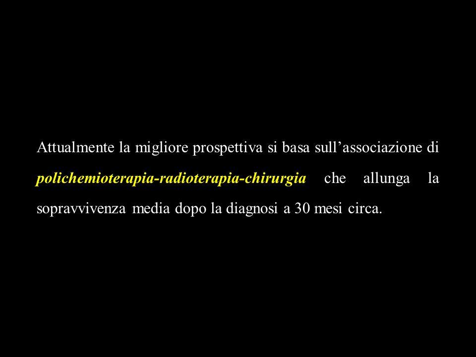 Attualmente la migliore prospettiva si basa sullassociazione di polichemioterapia-radioterapia-chirurgia che allunga la sopravvivenza media dopo la di