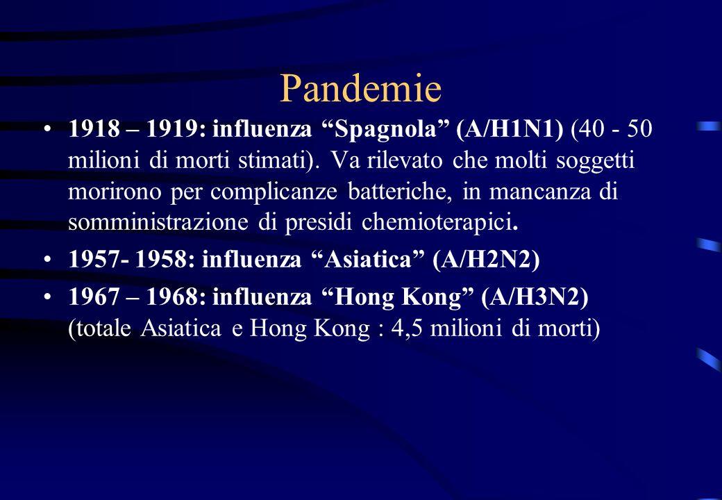 Pandemie 1918 – 1919: influenza Spagnola (A/H1N1) (40 - 50 milioni di morti stimati). Va rilevato che molti soggetti morirono per complicanze batteric