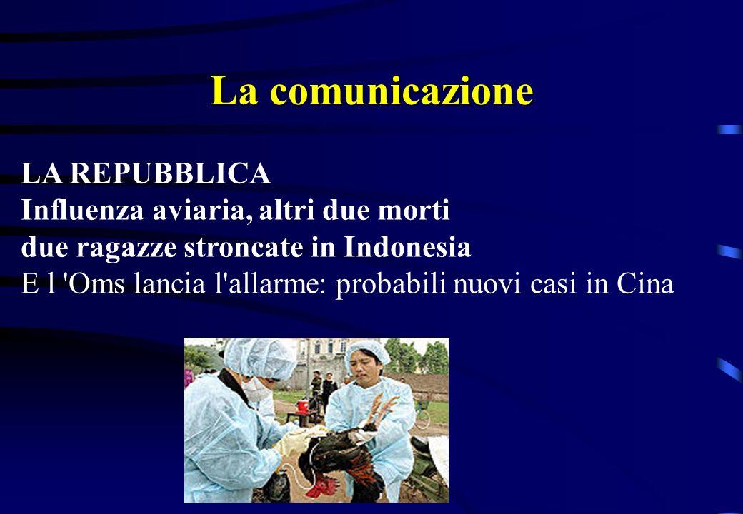 La comunicazione LA REPUBBLICA Influenza aviaria, la Ue annuncia Un vaccino efficace per l uomo L antidoto è attivo contro il ceppo H7N1 che causò la moria di polli nel 1999 Lo studio utile per ricavare il vaccino contro il più temibile H5