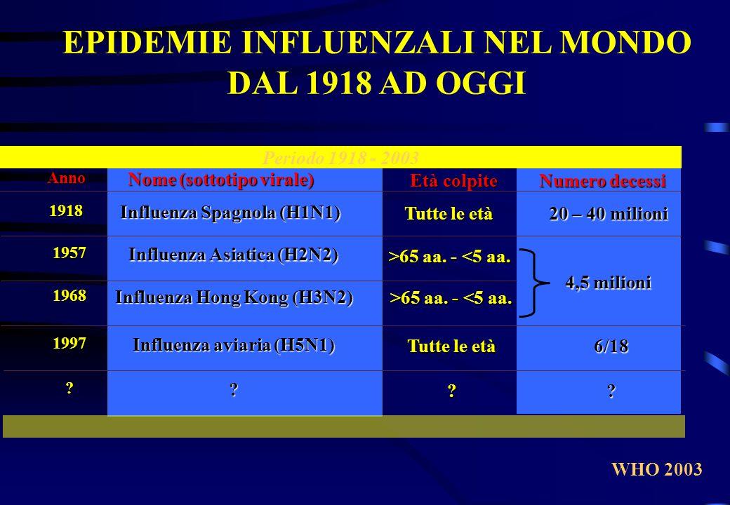 EPIDEMIE INFLUENZALI NEL MONDO DAL 1918 AD OGGI Periodo 1918 - 2003 Anno Nome (sottotipo virale) Età colpite Numero decessi 1918 1957 1968 1997 ? Infl