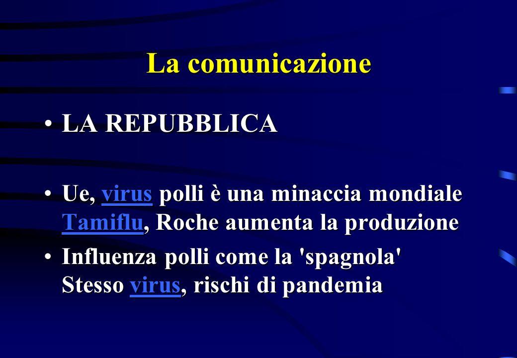 La comunicazione LA REPUBBLICALA REPUBBLICA Influenza polli, allarme a Giakarta: Ormai siamo in piena epidemia Influenza polli, allarme a Giakarta: Ormai siamo in piena epidemia Influenza polli, allarme a Giakarta: Ormai siamo in piena epidemia Virus polli, allarme anche per l Italia In caso di pandemia 150 mila morti Virus polli, allarme anche per l Italia In caso di pandemia 150 mila morti Virus polli, allarme anche per l Italia In caso di pandemia 150 mila morti Virus polli, allarme anche per l Italia In caso di pandemia 150 mila morti