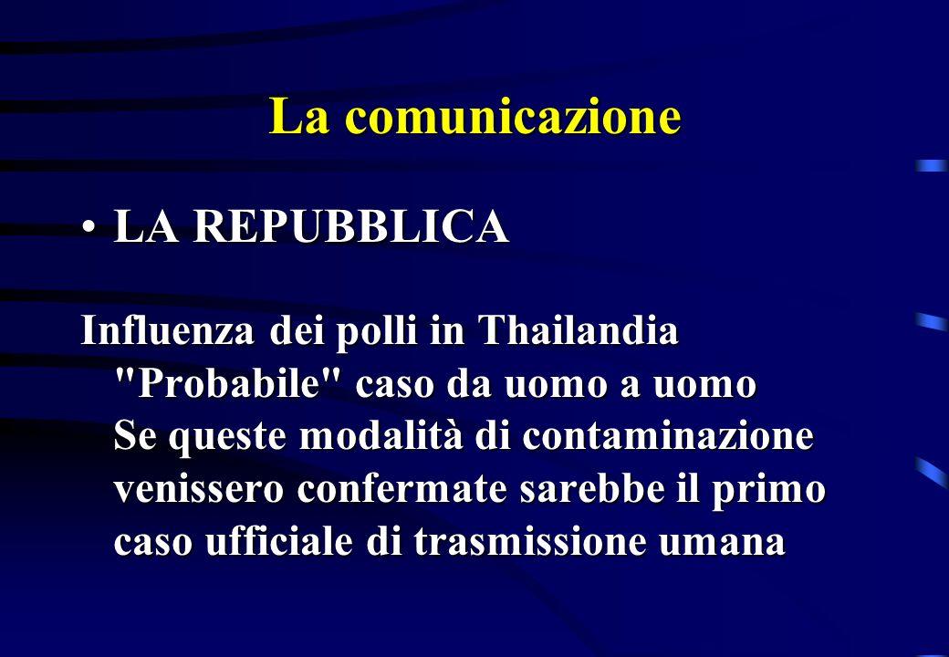 La comunicazione LA REPUBBLICALA REPUBBLICA Influenza dei polli in Thailandia