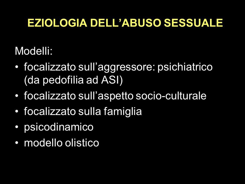 EZIOLOGIA DELLABUSO SESSUALE Modelli: focalizzato sullaggressore: psichiatrico (da pedofilia ad ASI) focalizzato sullaspetto socio-culturale focalizzato sulla famiglia psicodinamico modello olistico