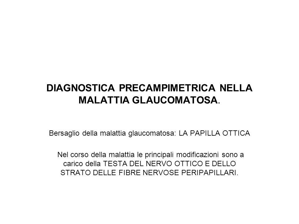 DIAGNOSTICA PRECAMPIMETRICA NELLA MALATTIA GLAUCOMATOSA. Bersaglio della malattia glaucomatosa: LA PAPILLA OTTICA Nel corso della malattia le principa