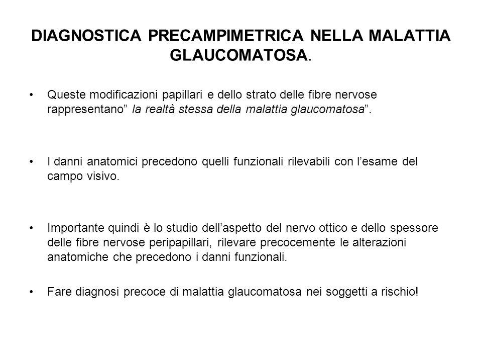 DIAGNOSTICA PRECAMPIMETRICA NELLA MALATTIA GLAUCOMATOSA. Queste modificazioni papillari e dello strato delle fibre nervose rappresentano la realtà ste
