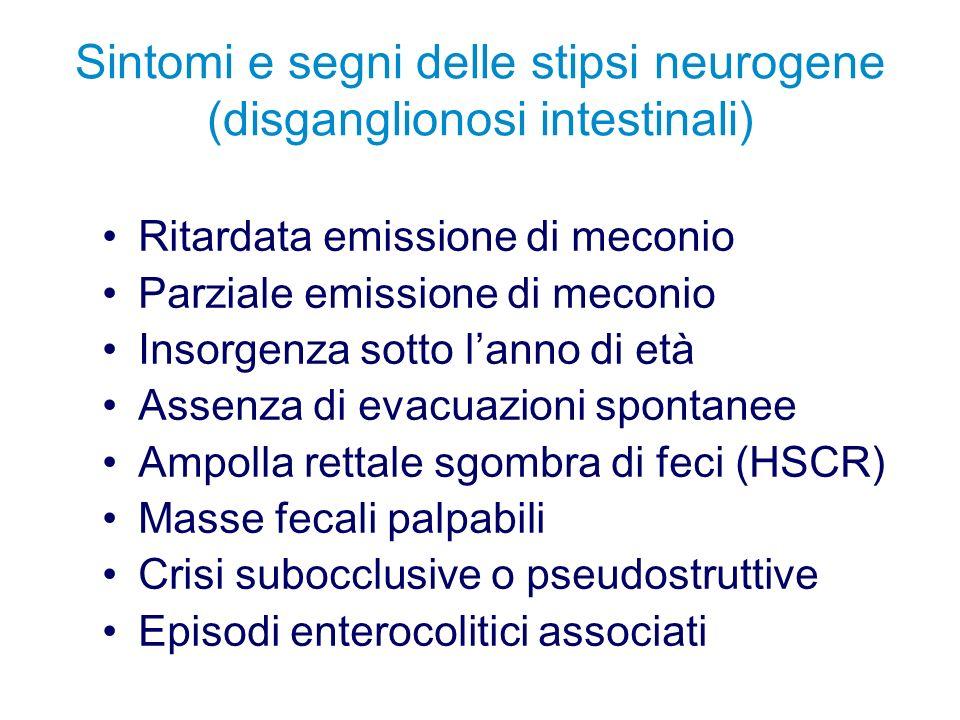 Sintomi e segni delle stipsi neurogene (disganglionosi intestinali) Ritardata emissione di meconio Parziale emissione di meconio Insorgenza sotto lann