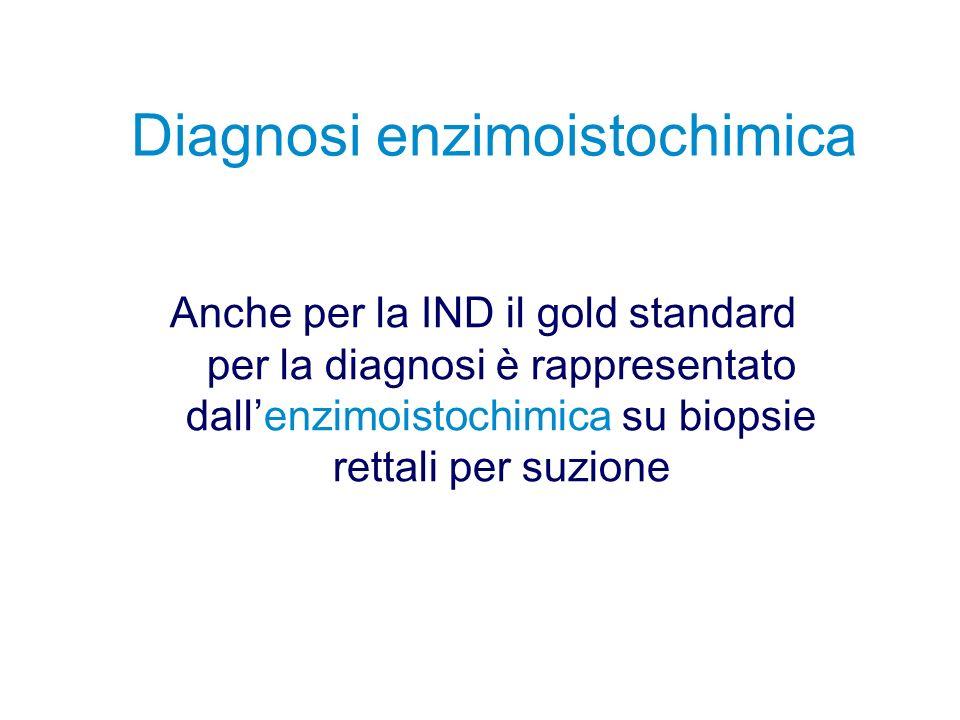 Diagnosi enzimoistochimica Anche per la IND il gold standard per la diagnosi è rappresentato dallenzimoistochimica su biopsie rettali per suzione
