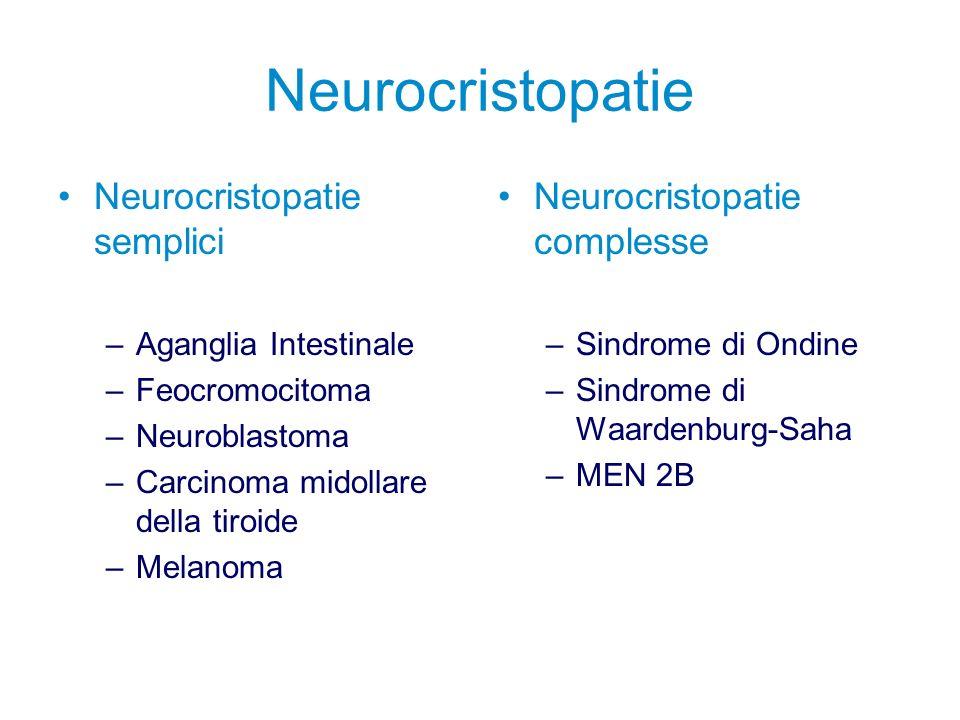 Malattia di Hirschsprung Neurocristopatia semplice caratterizzata da aganglia dellintestino distale di variabile estensione Incidenza 1:5000 nati vivi Rapporto maschi:femmine > 4:1 Nati a termine Familiarità Associazioni sindromiche possibili (S.