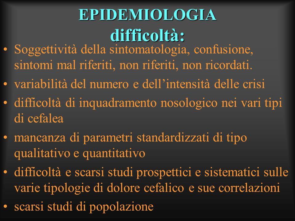 EPIDEMIOLOGIA difficoltà: Soggettività della sintomatologia, confusione, sintomi mal riferiti, non riferiti, non ricordati. variabilità del numero e d