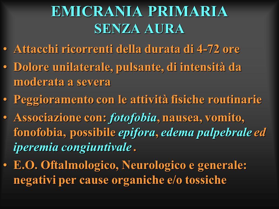 EMICRANIA PRIMARIA SENZA AURA Attacchi ricorrenti della durata di 4-72 oreAttacchi ricorrenti della durata di 4-72 ore Dolore unilaterale, pulsante, d