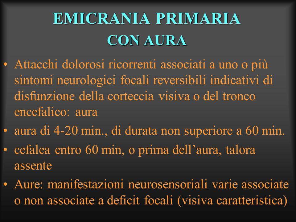 EMICRANIA PRIMARIA CON AURA Attacchi dolorosi ricorrenti associati a uno o più sintomi neurologici focali reversibili indicativi di disfunzione della