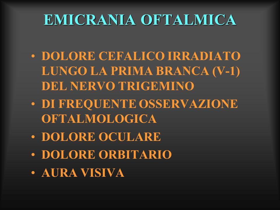 EMICRANIA OFTALMICA AURA VISIVA: DURATA MEDIA DI CIRCA 15-30 MINUTI, TALORA POCHI MINUTI (4-20 min.), RARAMENTE ALCUNI SECONDI, MAI OLTRE 60 MINUTI CEFALEA: PUO PRECEDERE, ACCOMPAGNARE O PIU FREQUENTEMENTE SEGUIRE I DISTURBI VISIVI DISTURBO VISIVO: PREVALENTEMENTE DI TIPO BINOCULARE