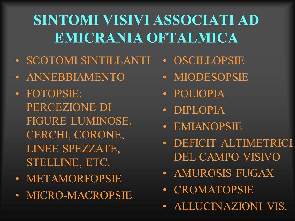 SEGNI OCULARI ASSOCIATI AD EMICRANIA OFTALMICA EDEMA PALPEBRALE EMIPTOSI IPEREMIA CONGIUNTIVALE CHEMOSI CONGIUNTIVALE ANISOCORIA PSEUDO-HORNER SYNDROME IPERLACRIMIA - EPIFORA