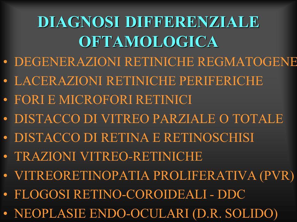 DIAGNOSI DIFFERENZIALE OFTAMOLOGICA DEGENERAZIONI RETINICHE REGMATOGENE LACERAZIONI RETINICHE PERIFERICHE FORI E MICROFORI RETINICI DISTACCO DI VITREO
