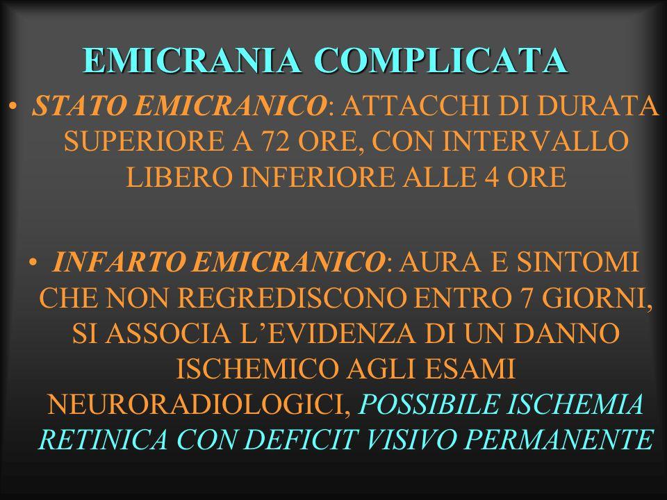 EMICRANIA COMPLICATA STATO EMICRANICO: ATTACCHI DI DURATA SUPERIORE A 72 ORE, CON INTERVALLO LIBERO INFERIORE ALLE 4 ORE INFARTO EMICRANICO: AURA E SI