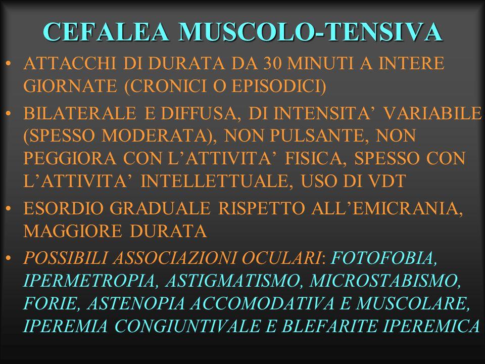 CEFALEA MUSCOLO-TENSIVA ATTACCHI DI DURATA DA 30 MINUTI A INTERE GIORNATE (CRONICI O EPISODICI) BILATERALE E DIFFUSA, DI INTENSITA VARIABILE (SPESSO M