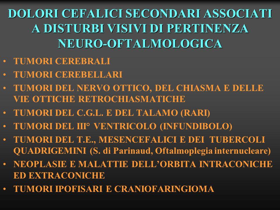 DOLORI CEFALICI SECONDARI DI PERTINENZA NEURO-OFTALMOLOGICA ANEURISMI DELLA CAROTIDE INTERNA ANEURISMI CAROTIDO-OFTALMICI ANEURISMI DELLA ARTERIA COMUNICANTE ANTERIORE EMORRAGIA SUB-ARACNOIDEA E SINDROME DI TERSON PSEUDOTUMOR CEREBRI SINDROME DELLA SELLA VUOTA