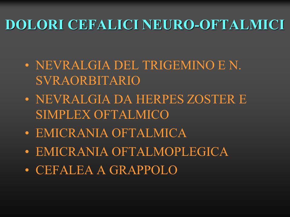 DOLORI CEFALICI NEURO-OFTALMICI NEVRALGIA DEL TRIGEMINO E N. SVRAORBITARIO NEVRALGIA DA HERPES ZOSTER E SIMPLEX OFTALMICO EMICRANIA OFTALMICA EMICRANI