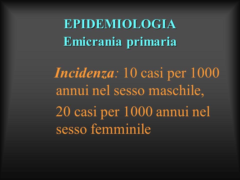 EPIDEMIOLOGIA Cefalea muscolo - tensiva Prevalenza: 36% nel sesso maschile, 42% nel sesso femminile (rapporto M/F 1:2 circa) maggiore nei soggetti di razza bianca maggiore negli individui con livello di istruzione medio-elevato Incidenza: non vi sono studi sufficientemente ampi ed attendibili (sottostimata) su questa forma