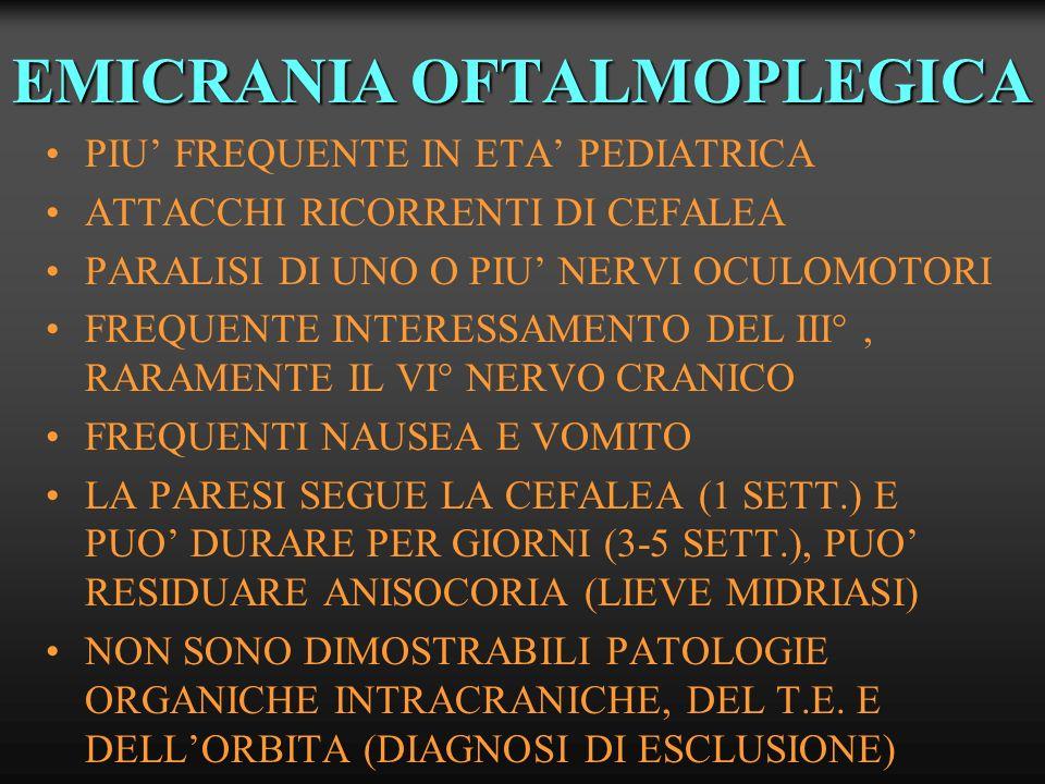 ALTRE CAUSE DI OFTALMOPLEGIA DOLOROSA MONONEUROPATIA DIABETICA HERPES ZOSTER OFTALMICO S.