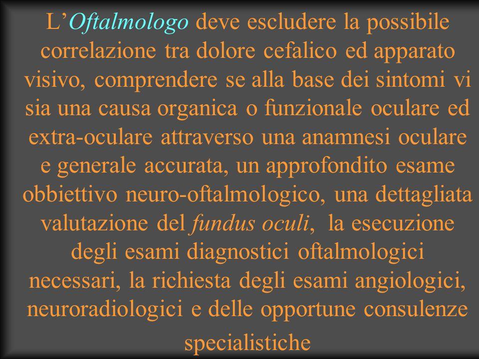 LOftalmologo deve escludere la possibile correlazione tra dolore cefalico ed apparato visivo, comprendere se alla base dei sintomi vi sia una causa or