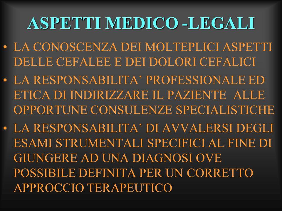 ASPETTI MEDICO -LEGALI LA CONOSCENZA DEI MOLTEPLICI ASPETTI DELLE CEFALEE E DEI DOLORI CEFALICI LA RESPONSABILITA PROFESSIONALE ED ETICA DI INDIRIZZAR