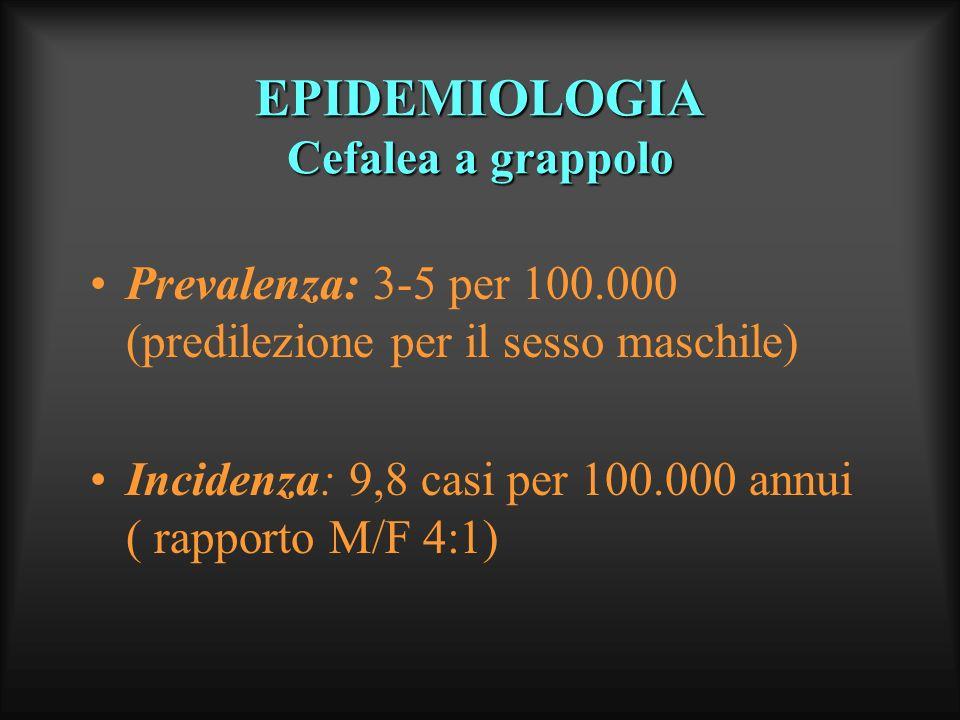 EPIDEMIOLOGIA Cefalea a grappolo Prevalenza: 3-5 per 100.000 (predilezione per il sesso maschile) Incidenza: 9,8 casi per 100.000 annui ( rapporto M/F