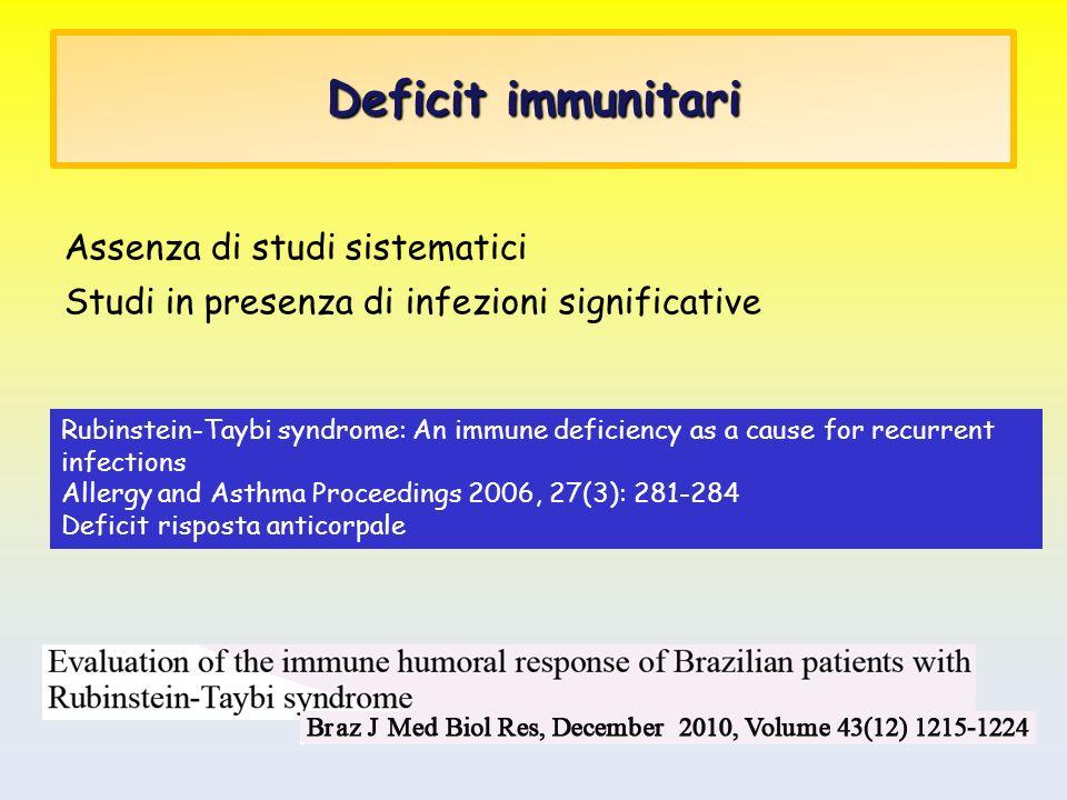Deficit immunitari Assenza di studi sistematici Studi in presenza di infezioni significative Rubinstein-Taybi syndrome: An immune deficiency as a caus
