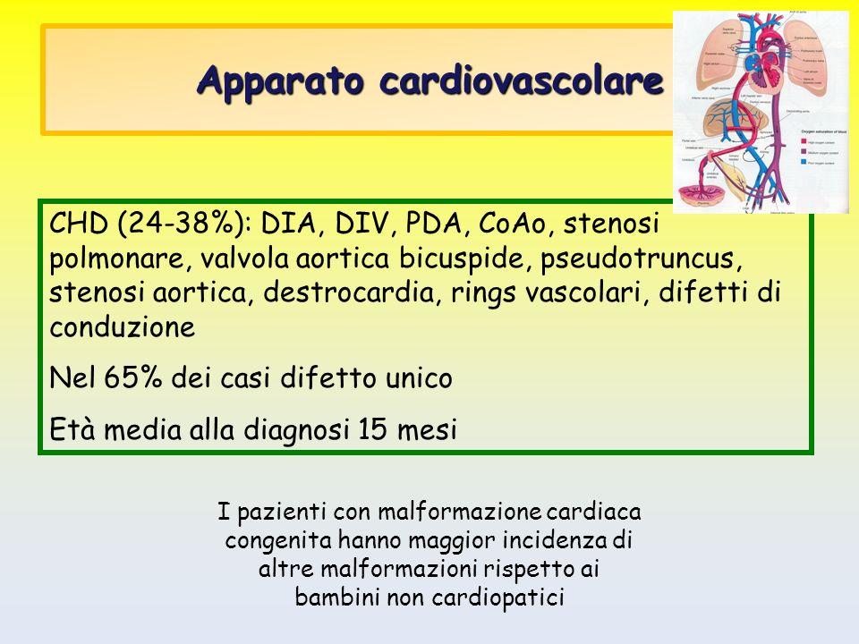 Apparato cardiovascolare CHD (24-38%): DIA, DIV, PDA, CoAo, stenosi polmonare, valvola aortica bicuspide, pseudotruncus, stenosi aortica, destrocardia