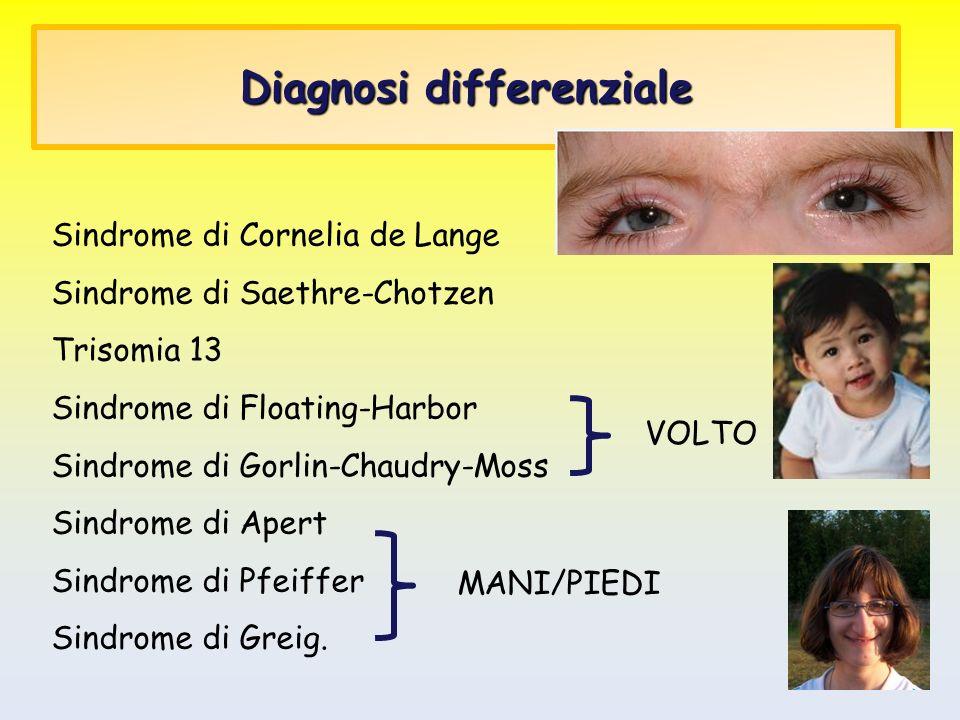 Diagnosi differenziale Sindrome di Cornelia de Lange Sindrome di Saethre-Chotzen Trisomia 13 Sindrome di Floating-Harbor Sindrome di Gorlin-Chaudry-Mo