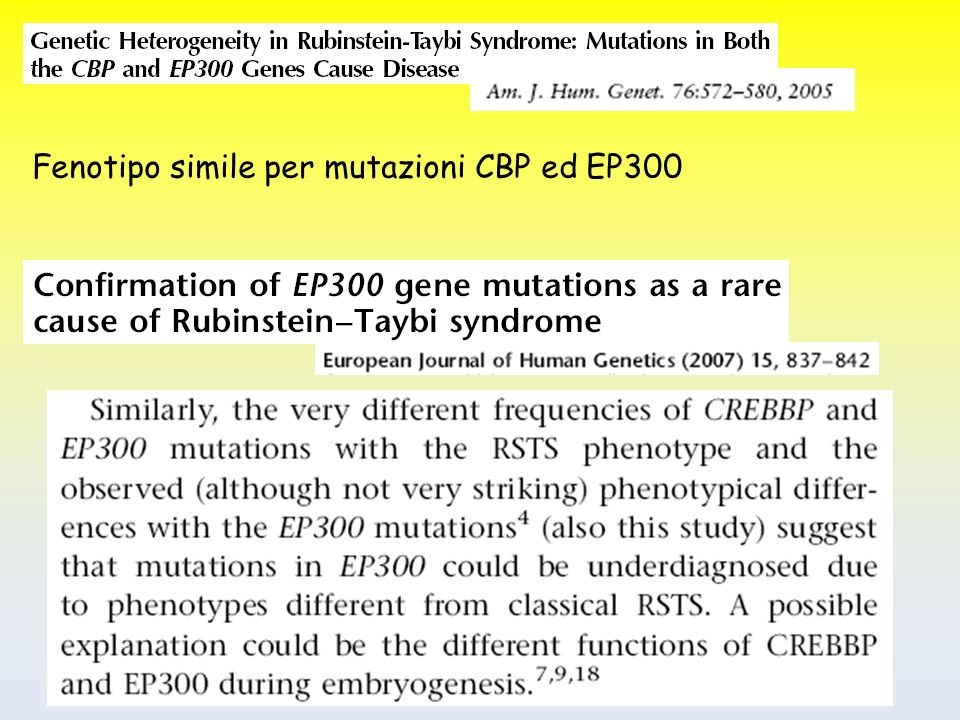 Fenotipo simile per mutazioni CBP ed EP300