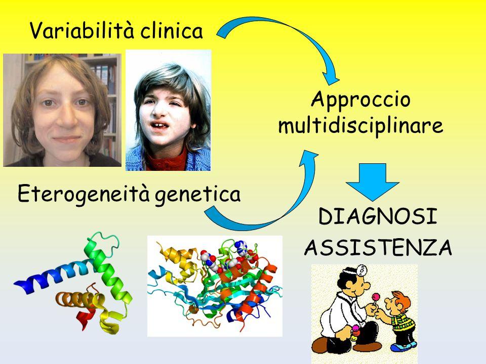 Variabilità clinica Approccio multidisciplinare Eterogeneità genetica DIAGNOSI ASSISTENZA