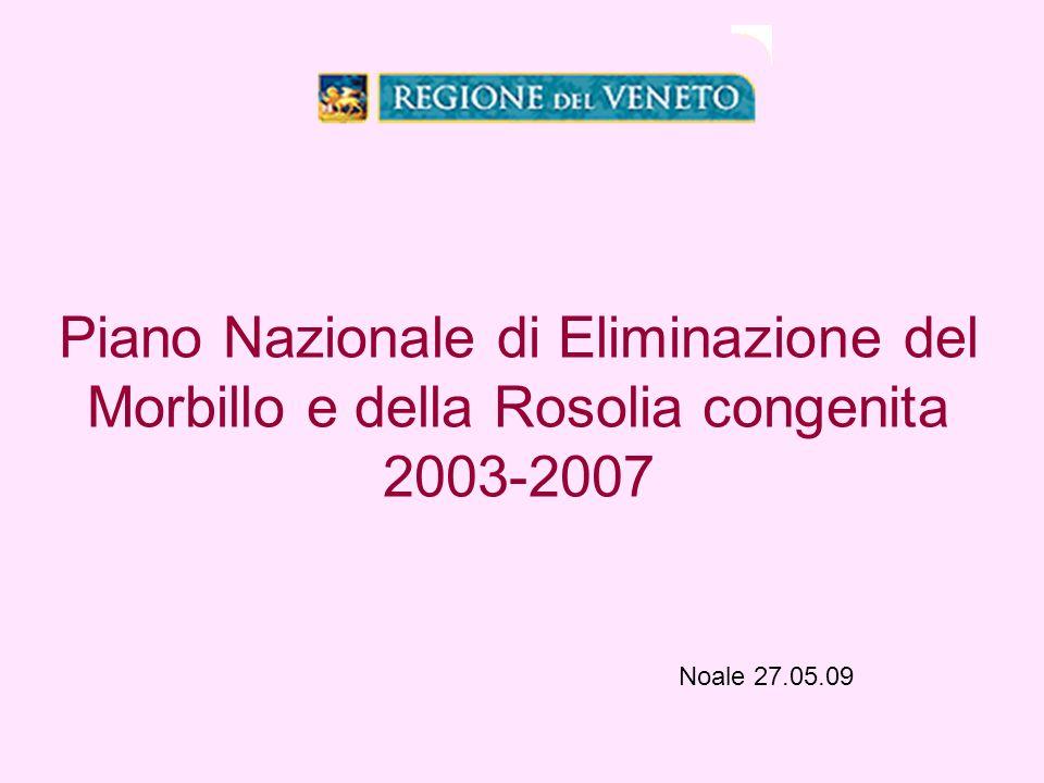 Piano Nazionale di Eliminazione del Morbillo e della Rosolia congenita 2003-2007 Noale 27.05.09